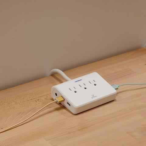 6 ft. 3-Outlet White Surge Protector Desktop Power Strip w/4 USB Ports