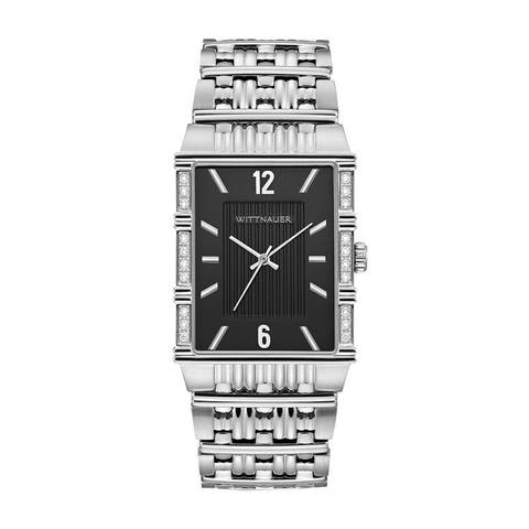 Wittnauer Men's WN3075 Rectangular Diamond Bezel Black Dial Bracelet Watch