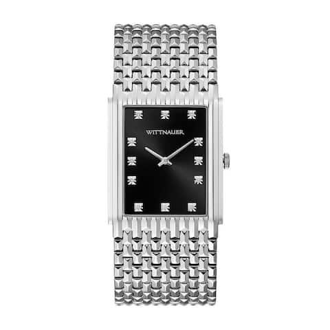 Wittnauer Men's WN3082 Rectangular Diamond Accent Black Dial Bracelet Watch