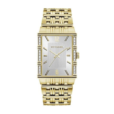 Wittnauer Men's WN3076 Goldtone Rectangular Diamond Accent Bracelet Watch - N/A