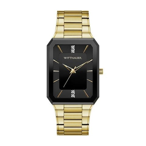 Wittnauer Men's WN3092 Goldtone Diamond Accent Black Case Bracelet Watch - N/A
