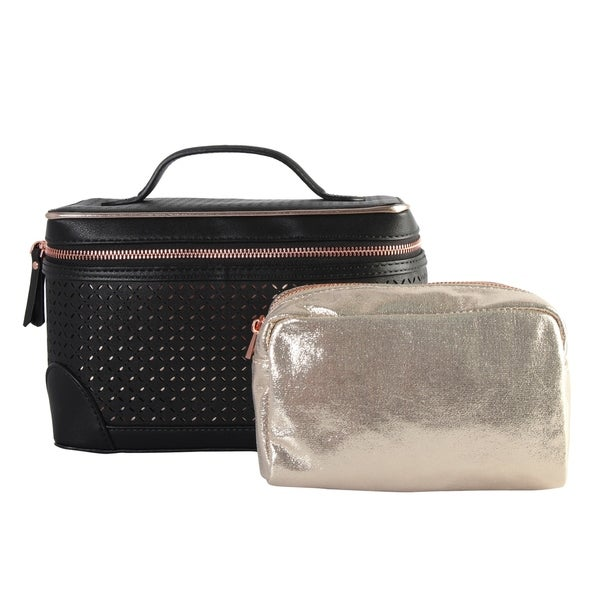 Diophy PU Leather Laser Cut Pattern Cosmetic Organizer 2-ps Set. Opens flyout.