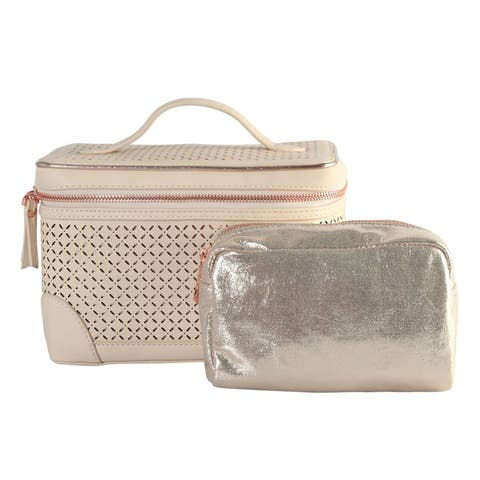 Diophy PU Leather Laser Cut Pattern Cosmetic Organizer 2-ps Set