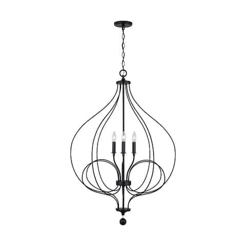 Sonnet 4-light Matte Black Foyer Pendant