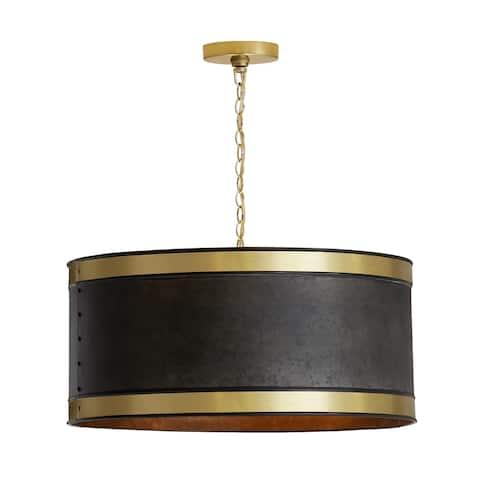 4-light Galvanized Black/True Brass Pendant