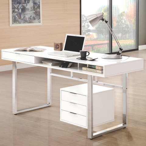 Copper Grove Yuruani Modern Glossy White and Chrome Computer Writing Desk