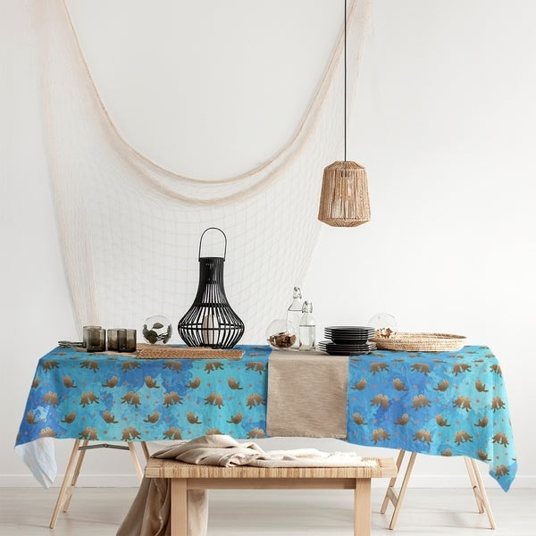 Sea Otters Pattern Rectangle Tablecloth - 58 x 102