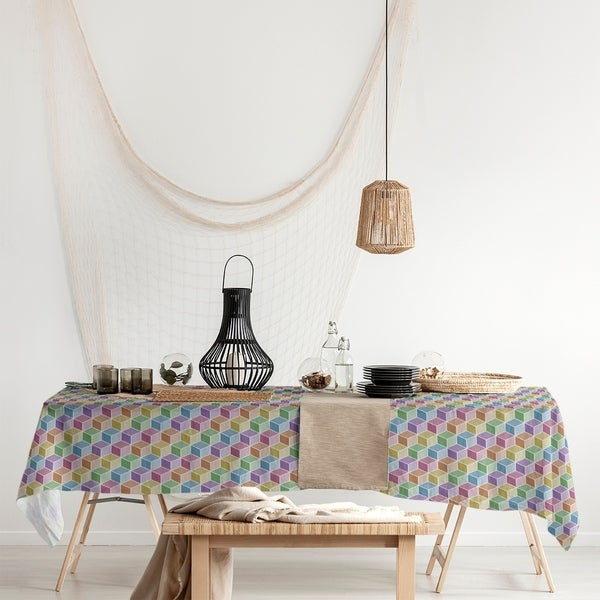 Rainbow Cube Pattern Rectangle Tablecloth - 58 x 102. Opens flyout.