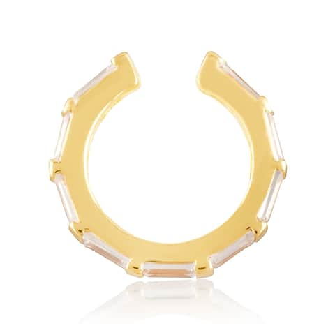 18KT Yellow Gold Plated Sterling Silver and Clear Cubic Zirconia Women's Baguette Huggie Cuff Earring