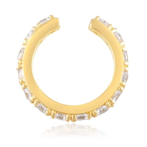 18KT Yellow Gold Plated Sterling Silver and Clear Cubic Zirconia Women's Pave Huggie Cuff Earring