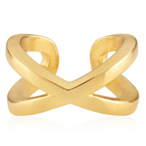 18KT Yellow Gold Plated Sterling Silver Women's Criss-Cross Huggie Cuff Earring - In Gorgeous Polished Finish