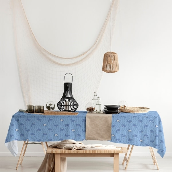 Whales Pattern Rectangle Tablecloth - 58 x 102