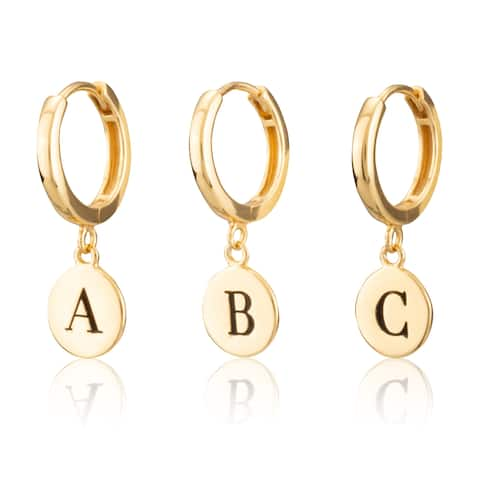 Sterling Silver 18KT Yellow Gold Plated Women's Disc Huggie Earring with Engraved Initial A-Z - Sold as Half Pair