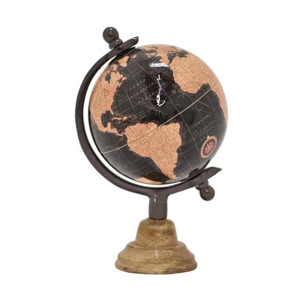 "9 "" Globe 5"" With Wood Base in Brown - 5 x 5 x 9"