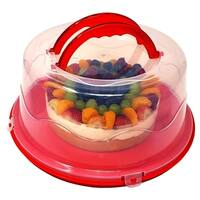"""Round Cake and Cupcake Carrier/Storage Container with Collapsible Handles & Sturdy Latches - Holds a Large 13"""" Cake"""