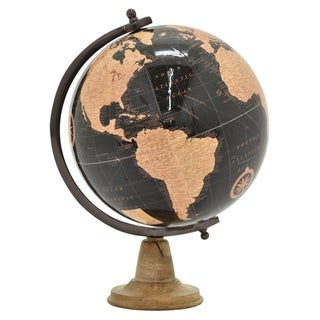"18.5 "" Globe 12"" With Wood Base in Brown - 12 x 12 x 18.5"