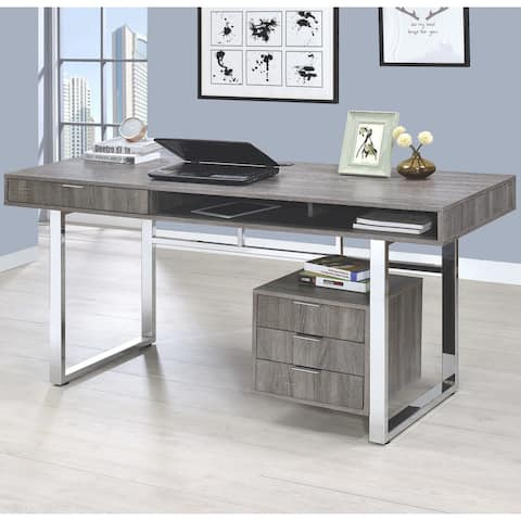 Modern Design Home Office Weathered Grey and Chrome Computer Writing Desk