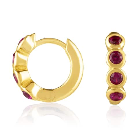 18KT Yellow Gold Plated Sterling Silver and Synthetic Ruby Huggie Fashion Earrings in Bezel Setting