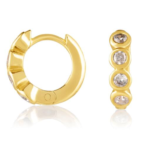 18KT Yellow Gold Plated Sterling Silver and Clear Cubic Zirconia Huggie Fashion Earrings in Bezel Setting