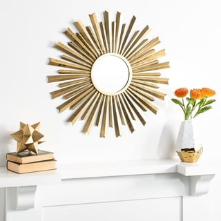 "Safavieh 33"" Holland Sunburst Mirror - Gold - 32.8"" x 0.8"" x 32.8"""