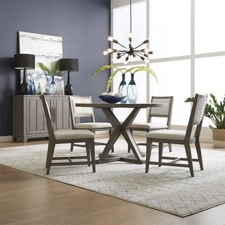 Crescent Creek Weathered Grey 5-piece Pedestal Table Set