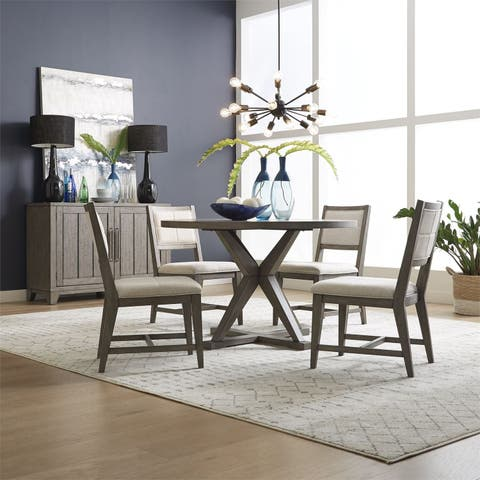 Crescent Creek Weathered Grey 5-piece Pedestal Table Set