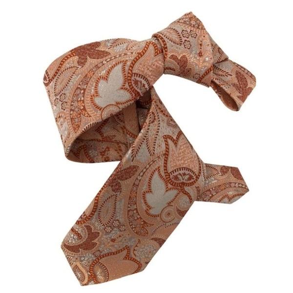 DMITRY 7-Fold Peach Paisley Italian Silk Tie