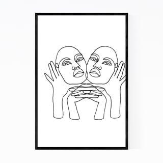 Noir Gallery Abstract Feminine Line Drawing Framed Art Print