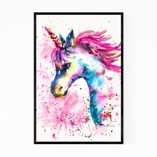 Noir Gallery Watercolor Unicorn Fantasy Animal Framed Art Print