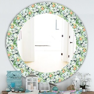 Designart 'Green Flowers 11' Traditional Mirror - Oval or Round Wall Mirror - Green