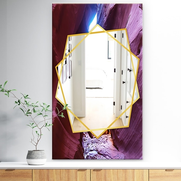 Designart 'Slot Canyon In The Upper Antelope' Traditional Mirror - Wall Mirror - Brown