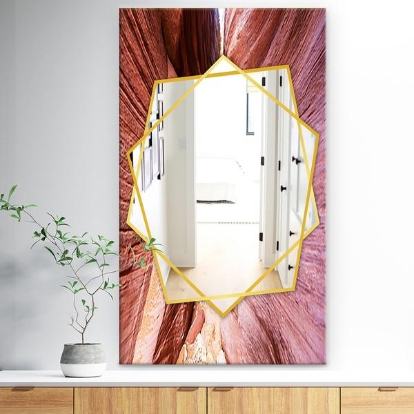 Designart 'Grand Staircase Escalante National Park Sandstone Formation' Traditional Mirror - Wall Mirror - Brown