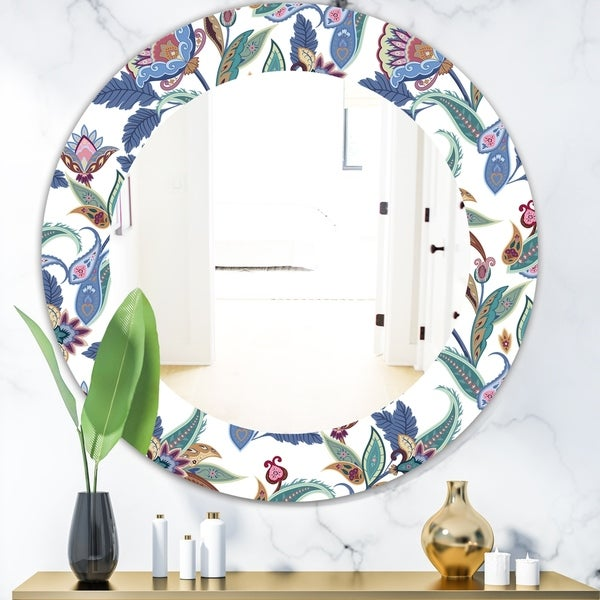 Designart 'Tropical Mood Blue 1' Bohemian and Eclectic Mirror - Oval or Round Wall Mirror