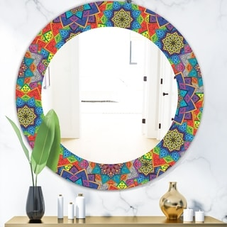 Designart 'Colored Indian Ornament' Bohemian and Eclectic Mirror - Oval or Round Wall Mirror