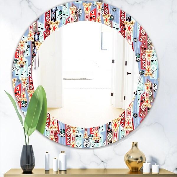 Designart 'Abstract Pattern' Modern Mirror - Oval or Round Wall Mirror - Purple