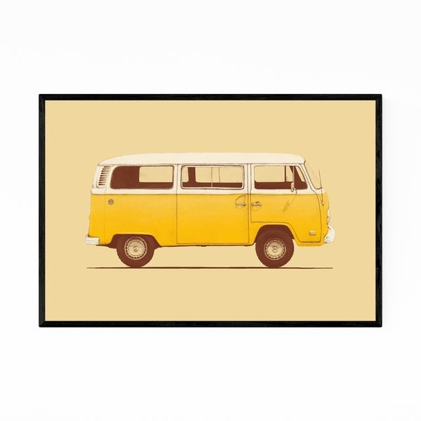 Noir Gallery Yellow Vintage Retro VW Van Framed Art Print