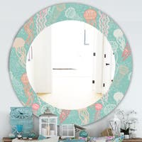 Designart 'Costal Creatures 3' Traditional Mirror - Oval or Round Wall Mirror - Blue