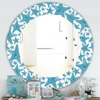 Designart 'Costal Creatures 4' Traditional Mirror - Oval or Round Wall Mirror - Blue