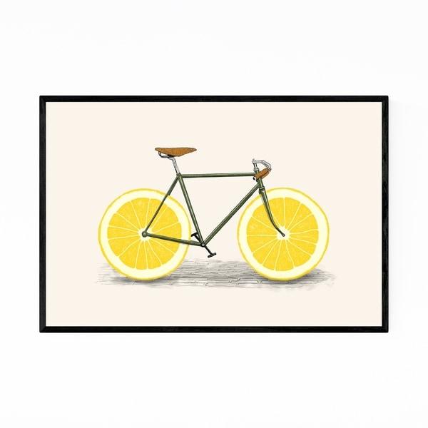 Noir Gallery Vintage Bike Cycling Lemon Funny Framed Art Print