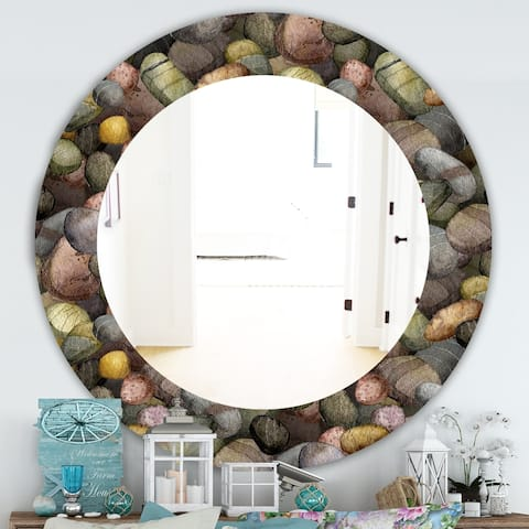 Designart 'Sea and Shore Stones' Traditional Mirror - Oval or Round Wall Mirror