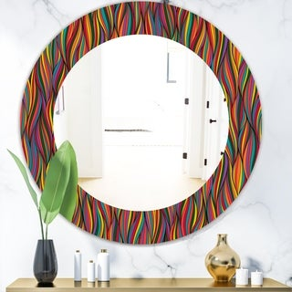 Designart 'Gorgeous Wave' Bohemian and Eclectic Mirror - Oval or Round Wall Mirror - Gold