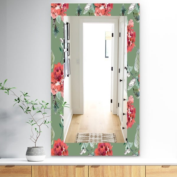 Designart 'Green Flowers 2' Traditional Mirror - Wall Mirror - Green