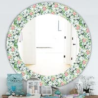 Designart 'Green Flowers 4' Traditional Mirror - Oval or Round Wall Mirror - Green