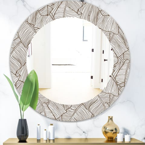 Designart 'Leaves of Palm Tree' Bohemian and Eclectic Mirror - Oval or Round Wall Mirror - Brown