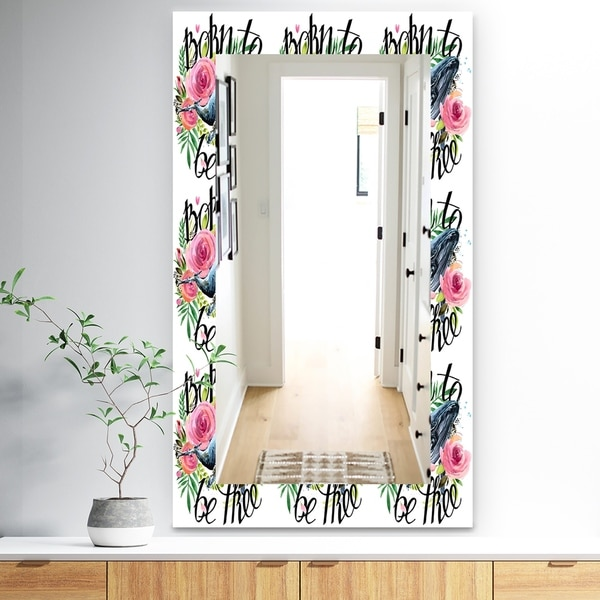 Designart 'Whale and Roses' Traditional Mirror - Vanity Mirror - White