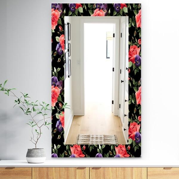 Designart 'Obsidian Bloom 5' Traditional Mirror - Vanity Mirror - Black