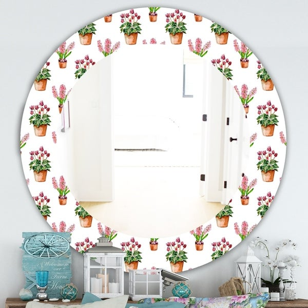 Designart 'Home Flower' Traditional Mirror - Oval or Round Wall Mirror
