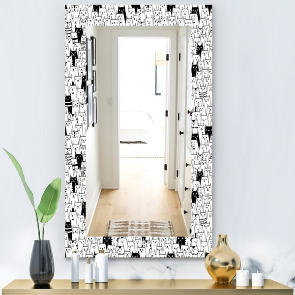 Designart 'Cats Pattern' Modern Mirror - Wall Mirror - White