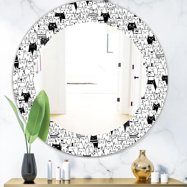 Designart 'Cats Pattern' Modern Mirror - Oval or Round Wall Mirror - White