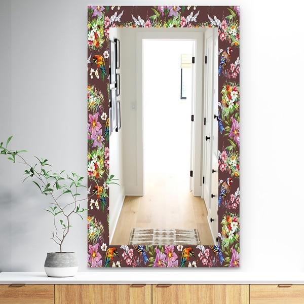 Designart 'Obsidian Bloom 6' Traditional Mirror - Wall Mirror - Brown